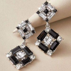 2/$20! Black/Clear Crystal Ornate Drop Earrings